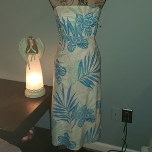 New Gap Strapless Linen Tropical Floral Tube Dress